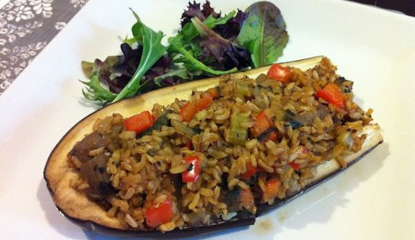 Vegetarian Stuffed Eggplant  Vegan Dinner Recipe Stuffed Eggplant