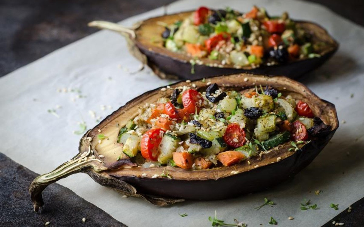 Vegetarian Stuffed Eggplant  Ve able Stuffed Baked Eggplant [Vegan] e Green Planet
