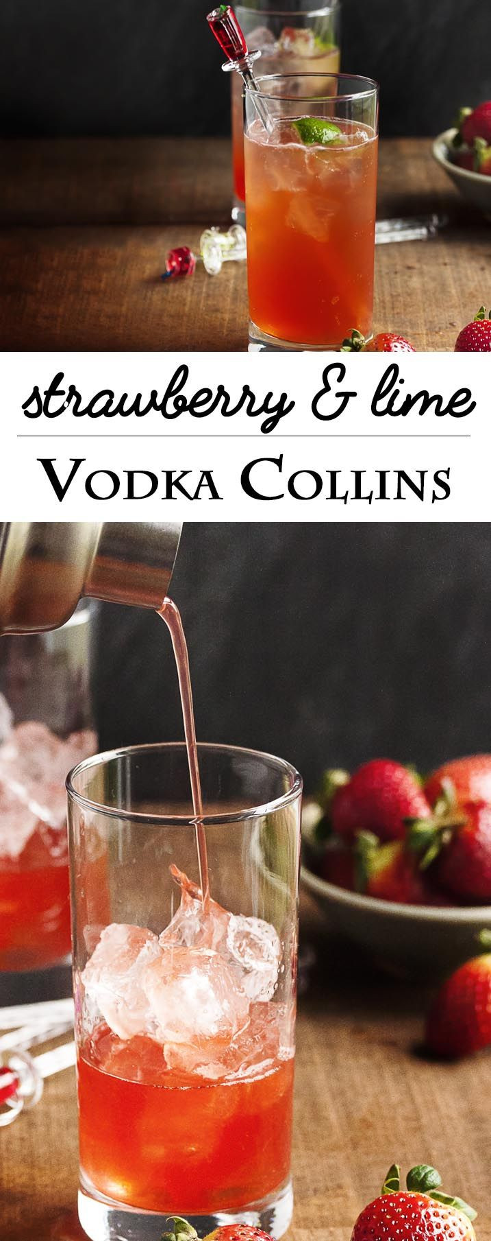 Vodka Collins Drinks  Strawberry and Lime Vodka Collins Recipe