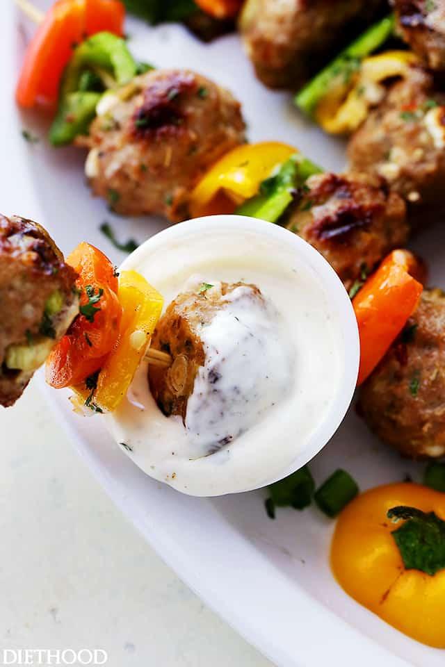 Vons Thanksgiving Dinner 2016  Grilled Mediterranean Turkey Meatballs Skewers Diethood