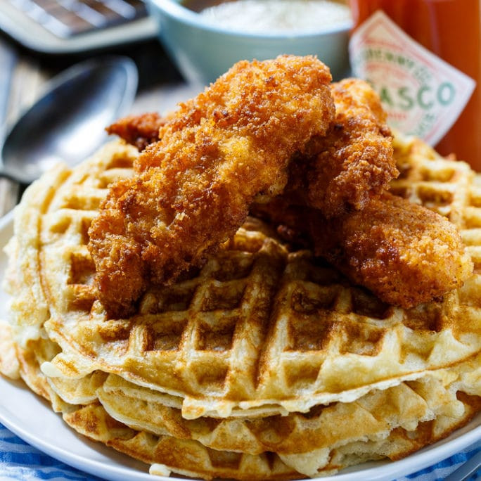 Waffles And Chicken  Chicken and Waffles with TABASCO Maple Syrup Spicy
