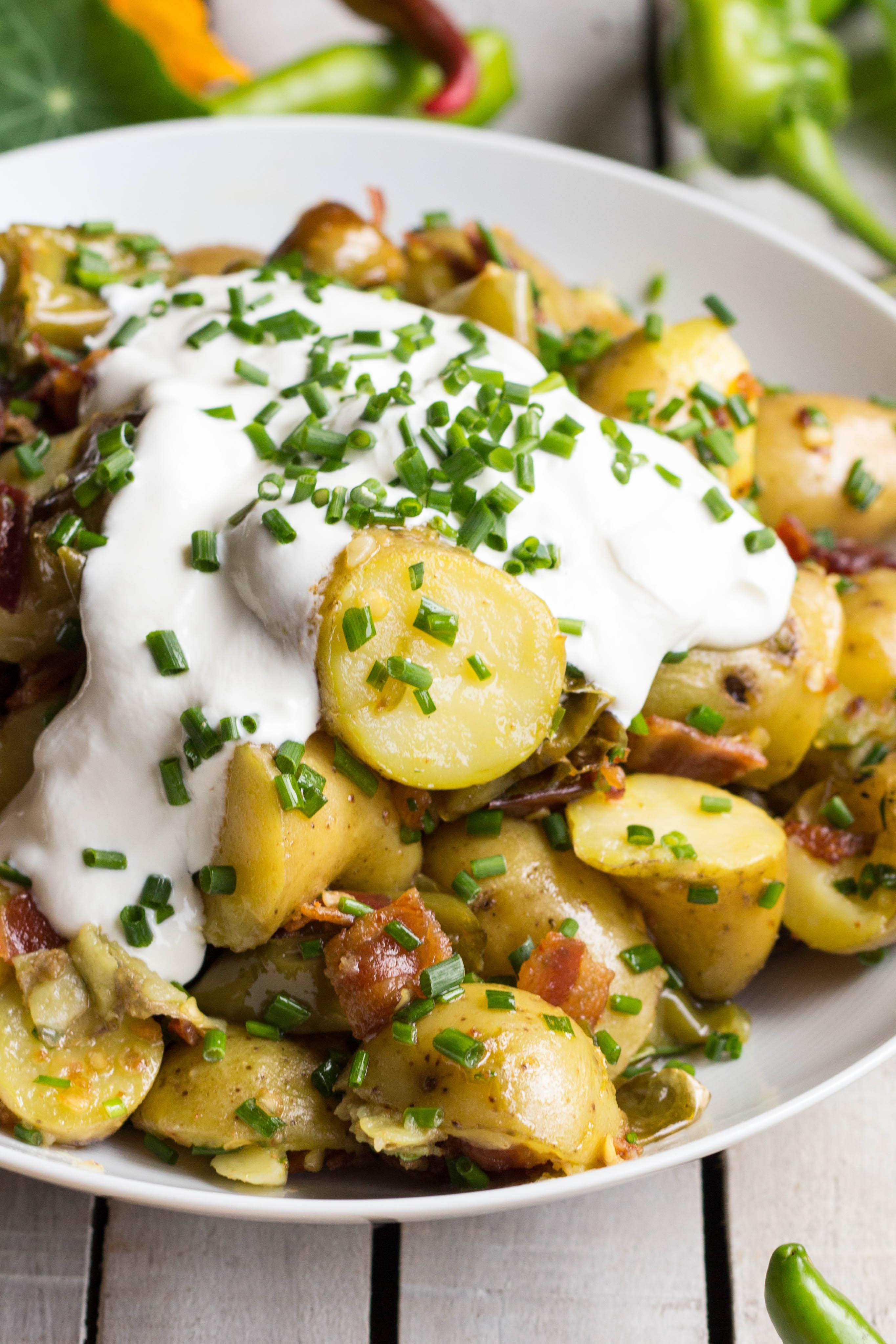 Warm Potato Salad  Warm Potato Salad with Bacon Long Hots