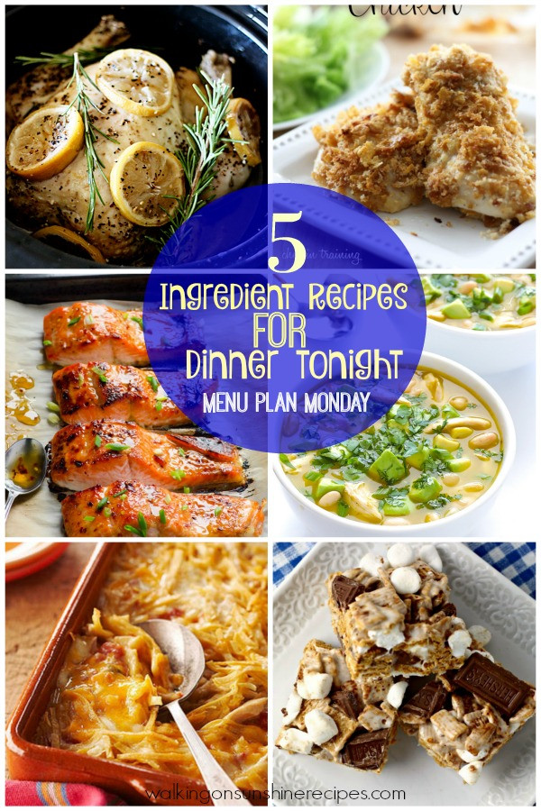 What Do I Want For Dinner Tonight  5 Ingre nt Recipes for Dinner Tonight Menu Plan Monday