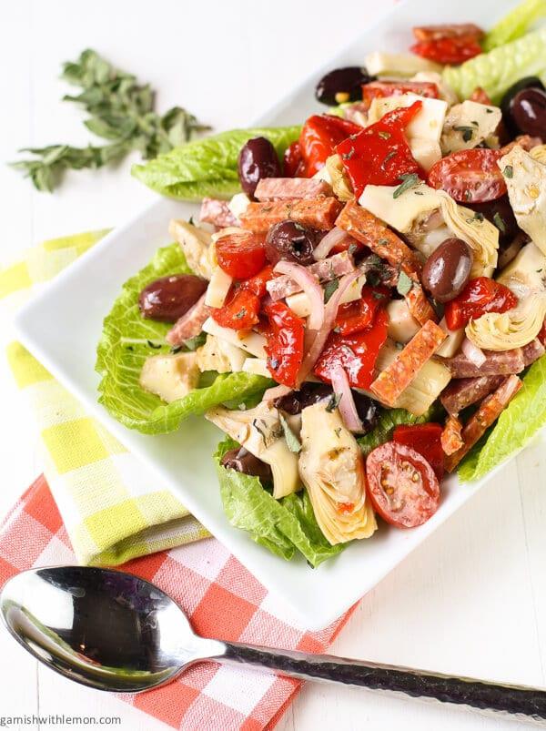 What Is Antipasto Salad  Antipasto Salad with Red Wine Vinaigrette Garnish with Lemon