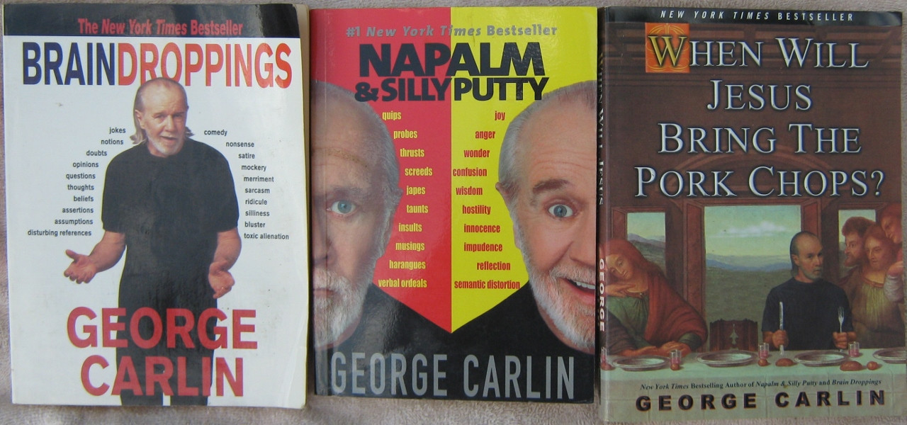 """When Will Jesus Bring The Pork Chops  George Carlin Autograph 3 Signed Books """"Brain Droppings"""