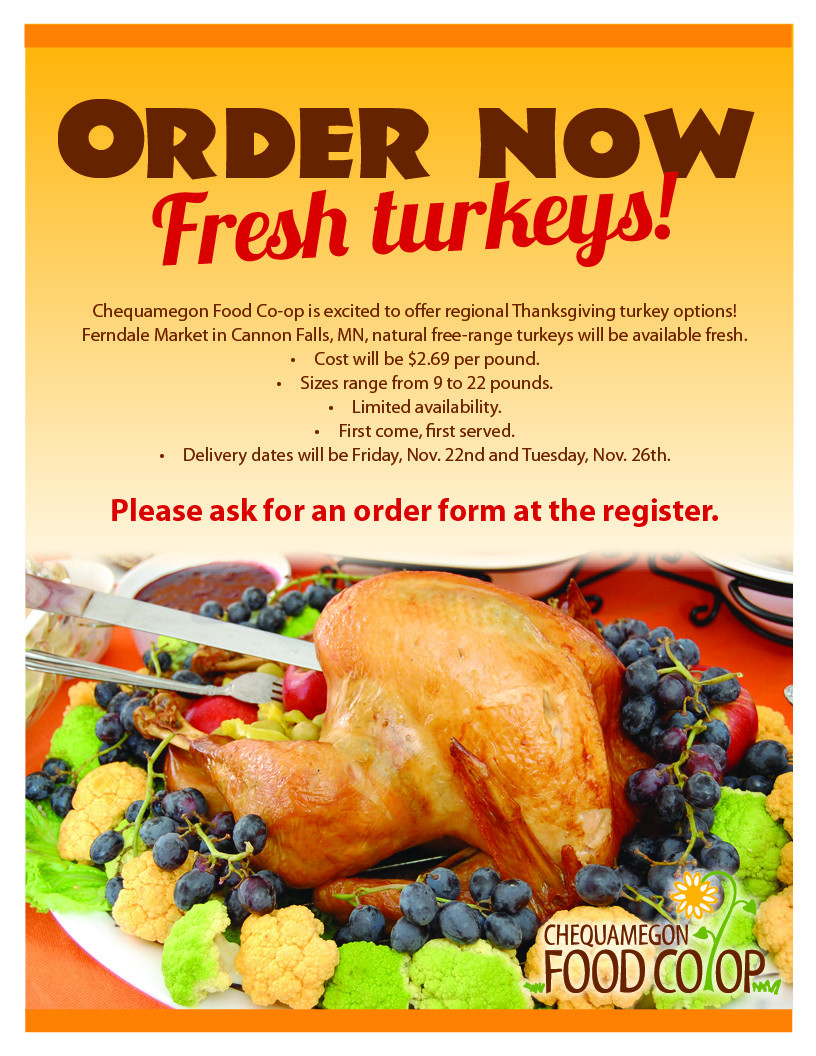 Where To Order Thanksgiving Dinner  Order Your Thanksgiving Turkey line Chequamegon Food Co op