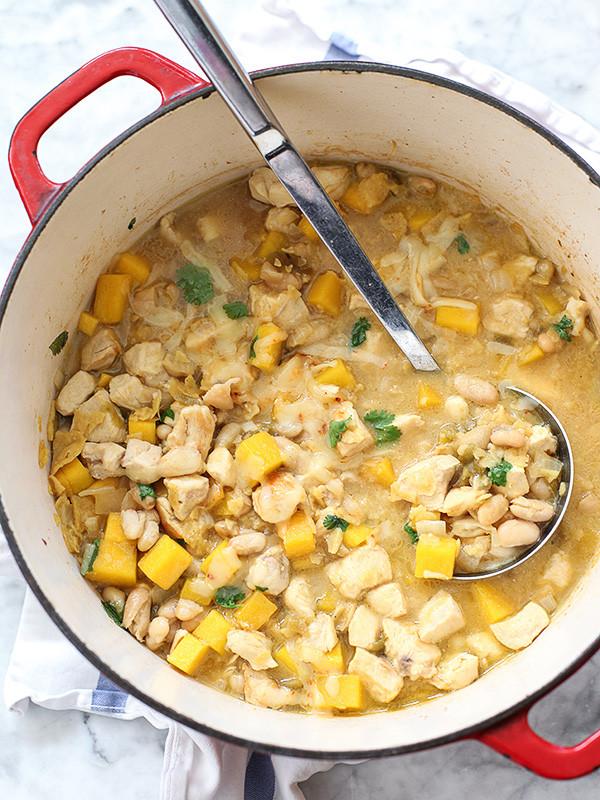White Bean Chicken Chili  Easy White Bean Chicken Chili with Butternut Squash