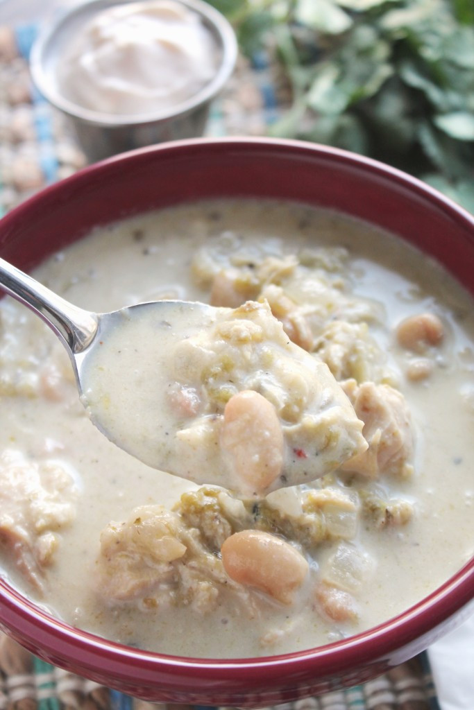 White Bean Chicken Chili Slow Cooker  Slow Cooker White Bean Chicken Chili with Hominy