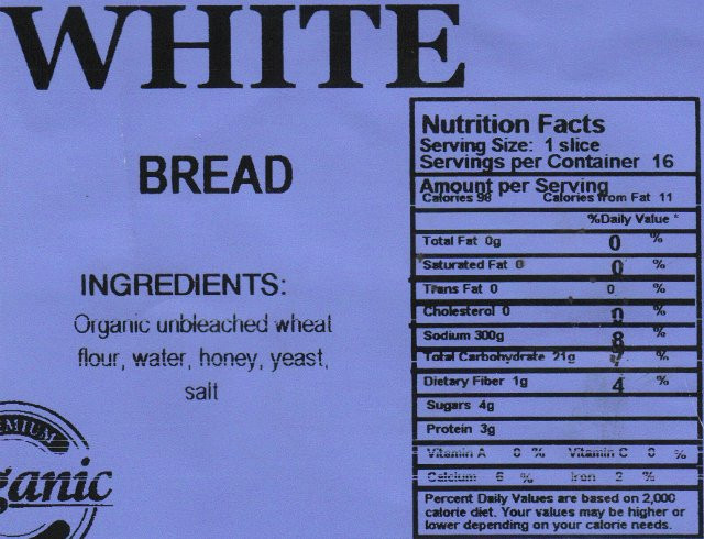 White Bread Nutrition Facts  Wonder Clic White Bread Nutrition Facts Nutrition Ftempo