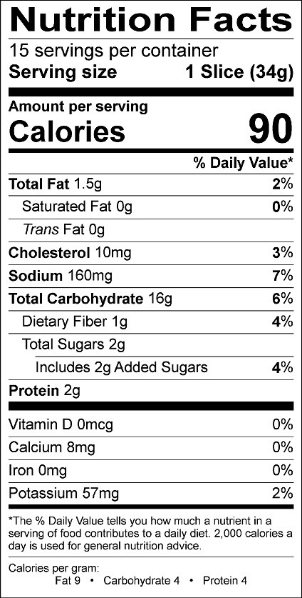 White Bread Nutrition Facts  Buy Canyon Bakehouse Mountain White Bread at