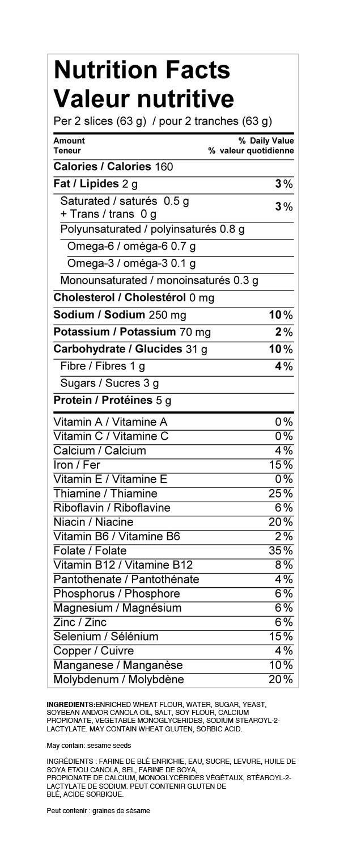 White Bread Nutrition Facts  WONDER Bread
