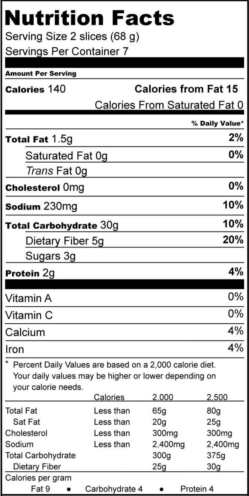 White Bread Nutrition Facts  White Bread Whole Grain Three Bakers