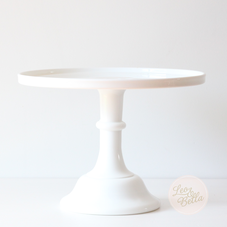 "White Cake Stand  White Glass Cake Stand Milk White 9"" Glass Cake Stand"