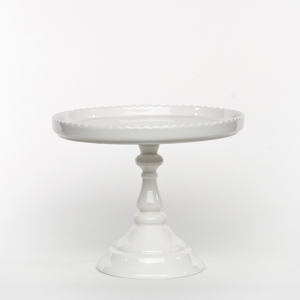 White Cake Stand  DBB White Footed Round Cake Stand Sweet and Saucy Supply
