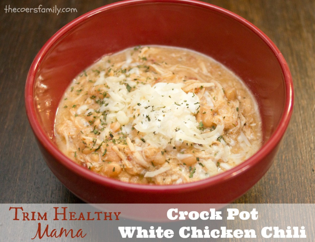 White Chicken Chili Crockpot  Trim Healthy Mama style Crock Pot White Chicken Chili