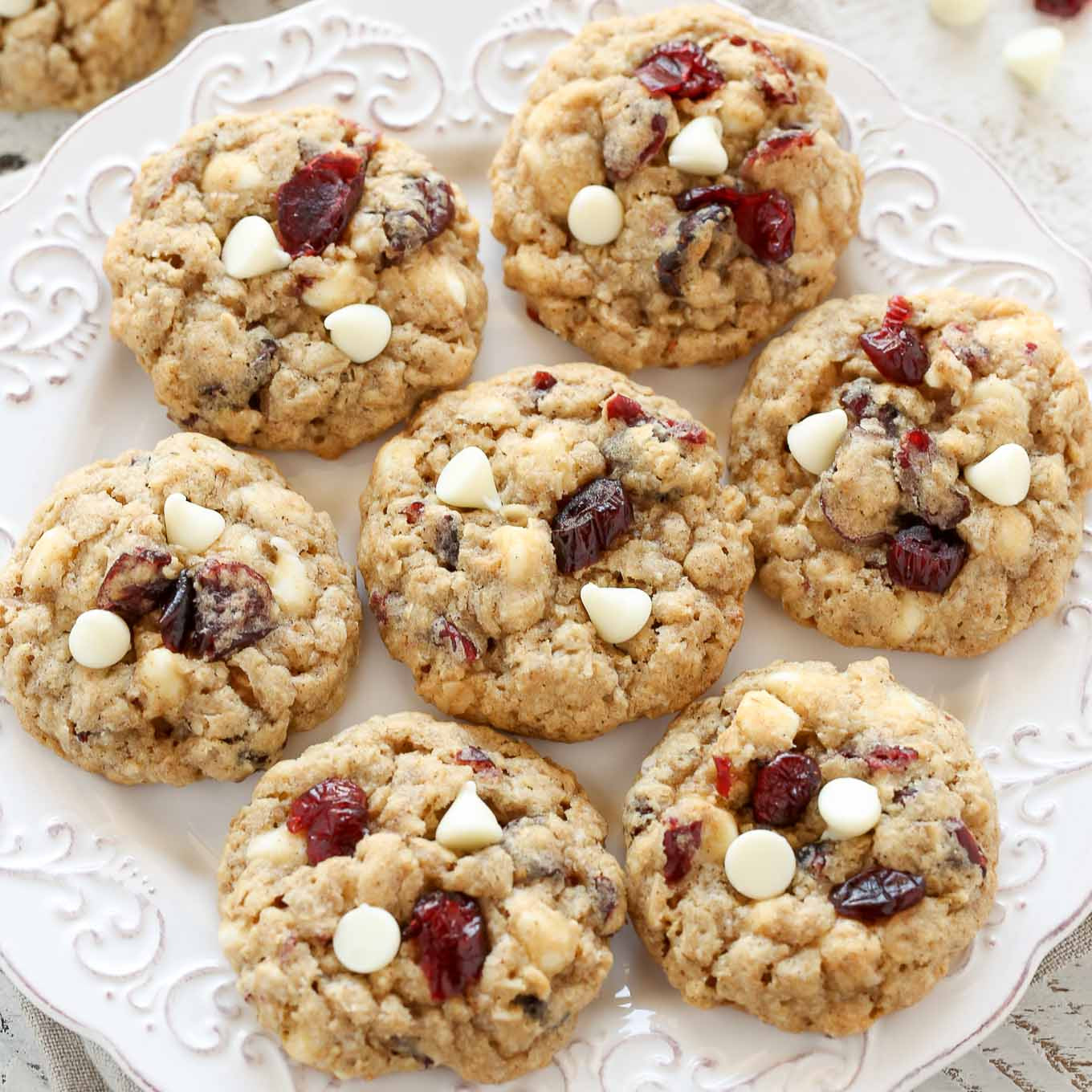 White Chocolate Cranberry Oatmeal Cookies  Soft and Chewy White Chocolate Cranberry Oatmeal Cookies