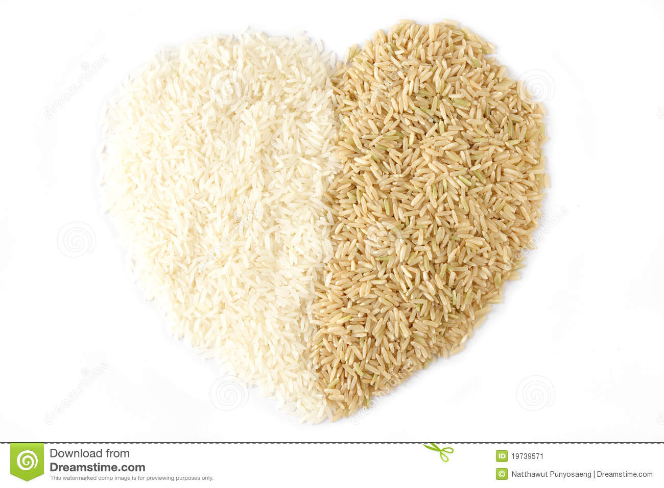 White Rice Or Brown Rice  White Rice And Brown Rice Heart Stock Image Image