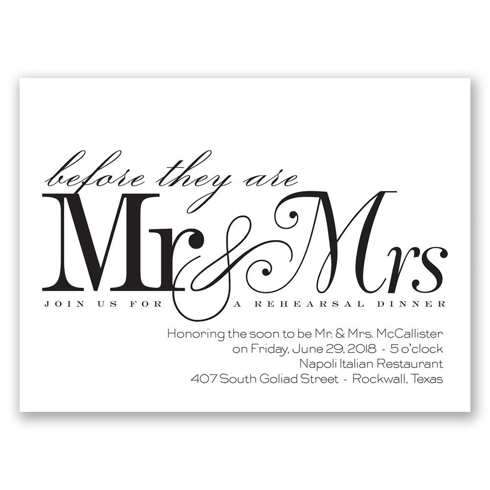 Who Is Invited To The Rehearsal Dinner  Before Mr & Mrs Petite Rehearsal Dinner Invitation