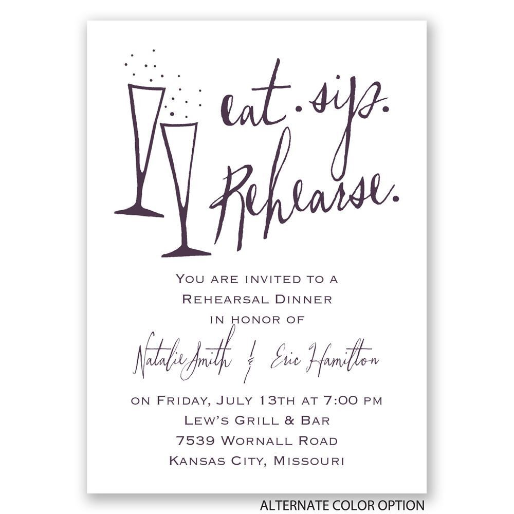 Who Is Invited To The Rehearsal Dinner  Eat Sip Rehearse Mini Rehearsal Dinner Invitation