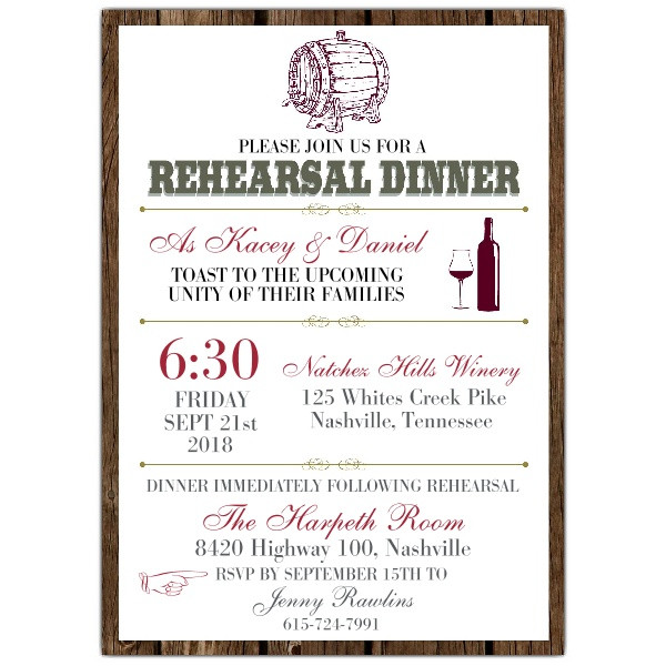 Who Is Invited To The Rehearsal Dinner  Wine Barrel Rehearsal Dinner Invitations