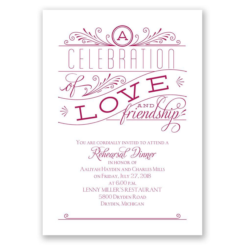Who Is Invited To The Rehearsal Dinner  Love and Friendship Rehearsal Dinner Invitation