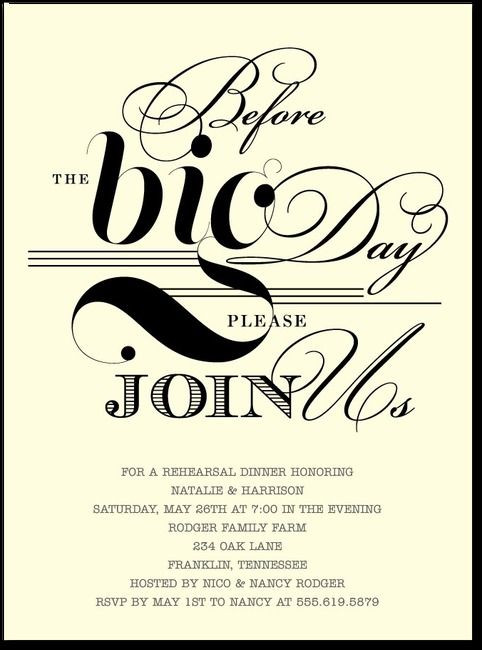 Who Is Invited To The Rehearsal Dinner  before the big day rehersal dinner invites