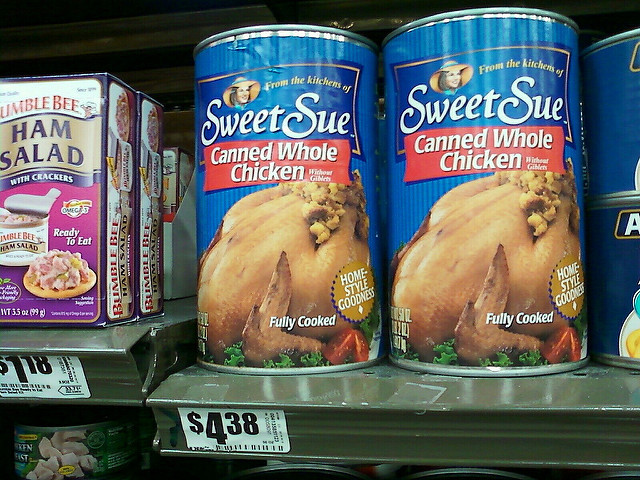 Whole Canned Chicken  I found it whole chicken in a can