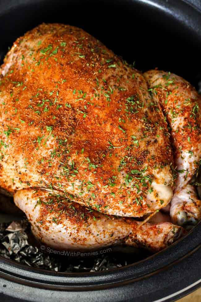 Whole Chicken In Crockpot  Slow Cooker Whole Chicken & Gravy Spend With Pennies