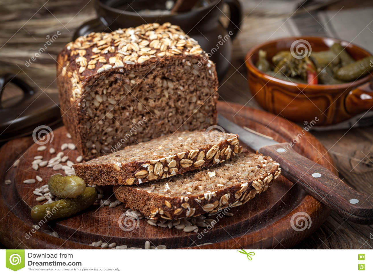 Whole Grain Rye Bread  Whole Grain Rye Bread With Seeds Stock Image of