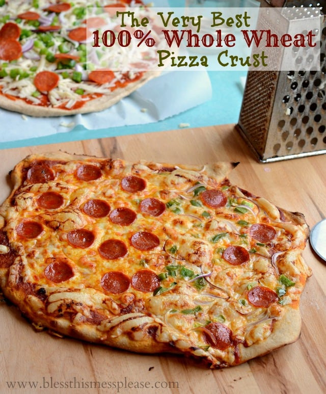 Whole Wheat Pizza Dough Recipe  Whole Wheat Pizza Crust Bless This Mess
