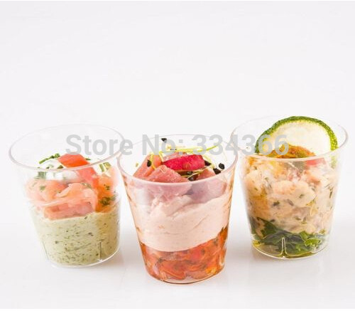 Wholesale Mini Dessert Cups  200pcs lot Disposable Plastic Dessert Cake Mousse Tray
