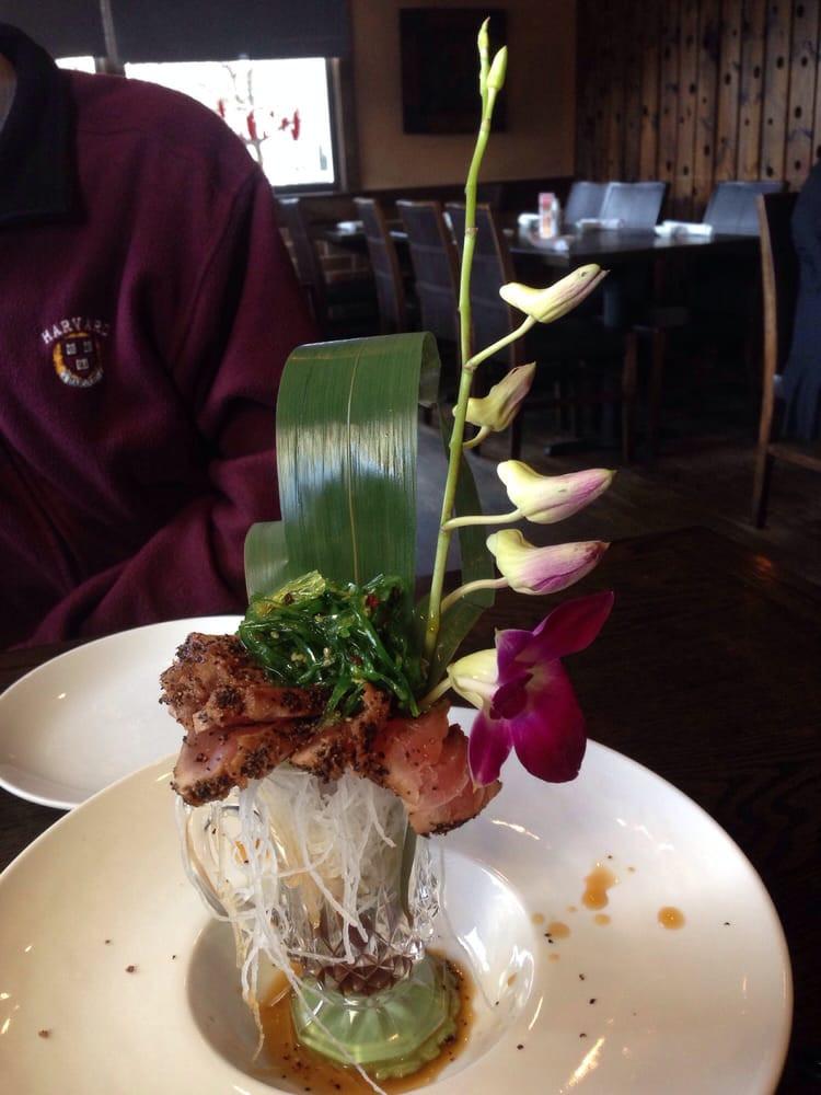 Wild Rice Norwalk  seared tuna appetizer plus seaweed salad martini tuna