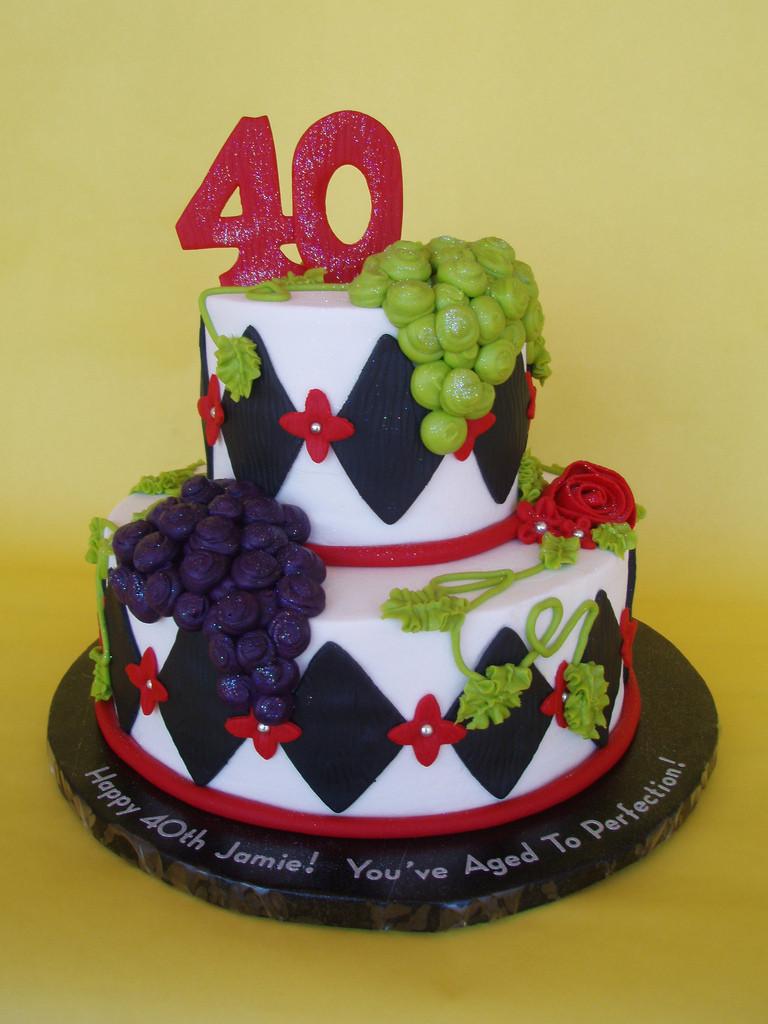 Wine Birthday Cake  Wine Themed 40th Birthday Cake