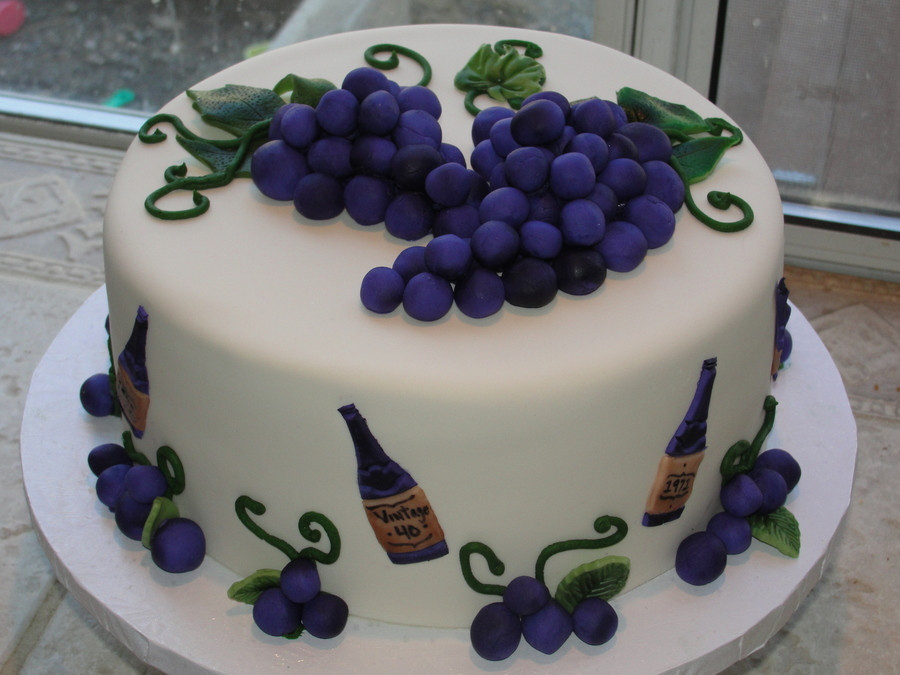 Wine Birthday Cake  Grape And Wine Themed CakeCentral