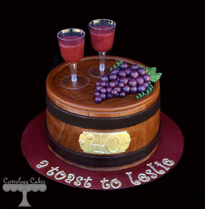 Wine Birthday Cake  Wine Barrel Cake Cake by Cuteology Cakes CakesDecor