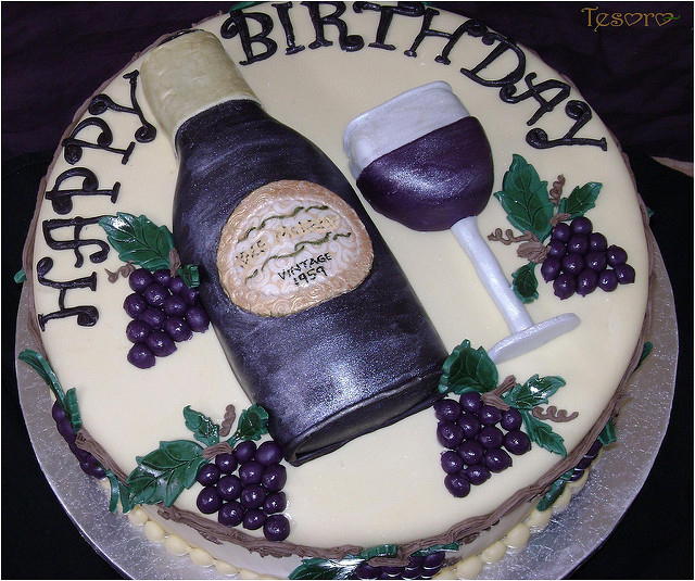Wine Birthday Cake  wine bottle cake