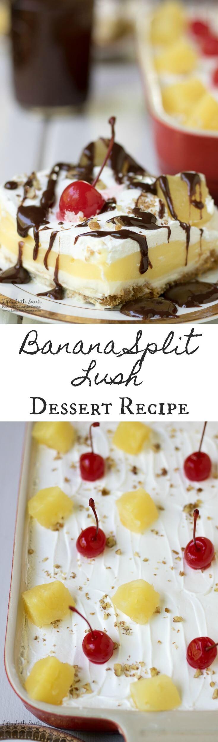 Winning Potluck Dessert Recipes  Banana Split Lush Dessert Recipe 12 Slices Banana Cream