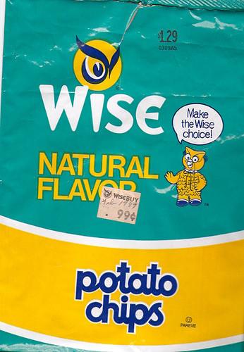Wise Potato Chips  1987 Borden Wise Potato Chips Bag Gregg Koenig