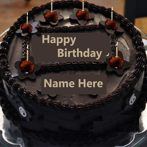 Written Name On Birthday Cake  Write Name Chocolate Happy Birthday Cake With Candle