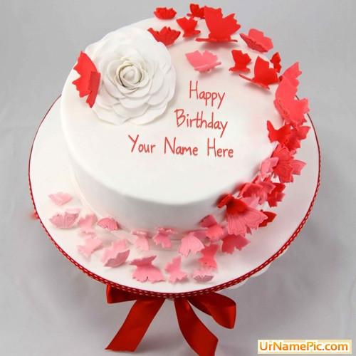 Written Name On Birthday Cake  Write name on Butterflies Birthday Cake happy birthday