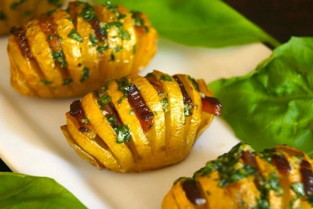 Yellow Potato Recipes  Bacon Basil Hasselback Dutch Yellow Potatoes