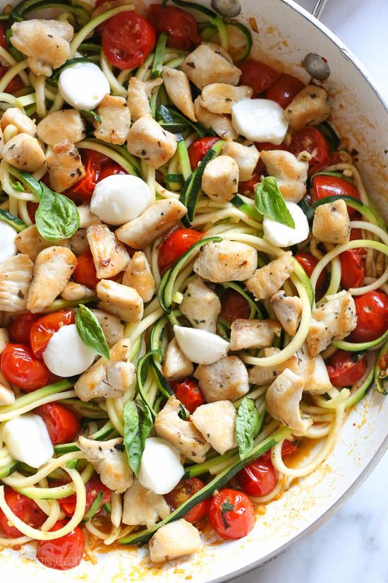 Zucchini And Chicken  Chicken and Zucchini Noodle Caprese