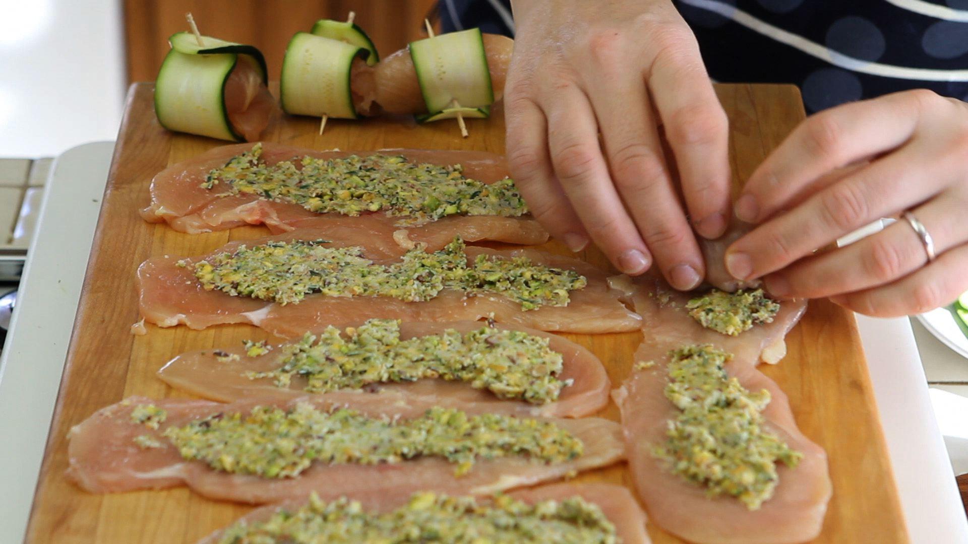 Zucchini And Chicken  Chicken bites with zucchini and pistachio