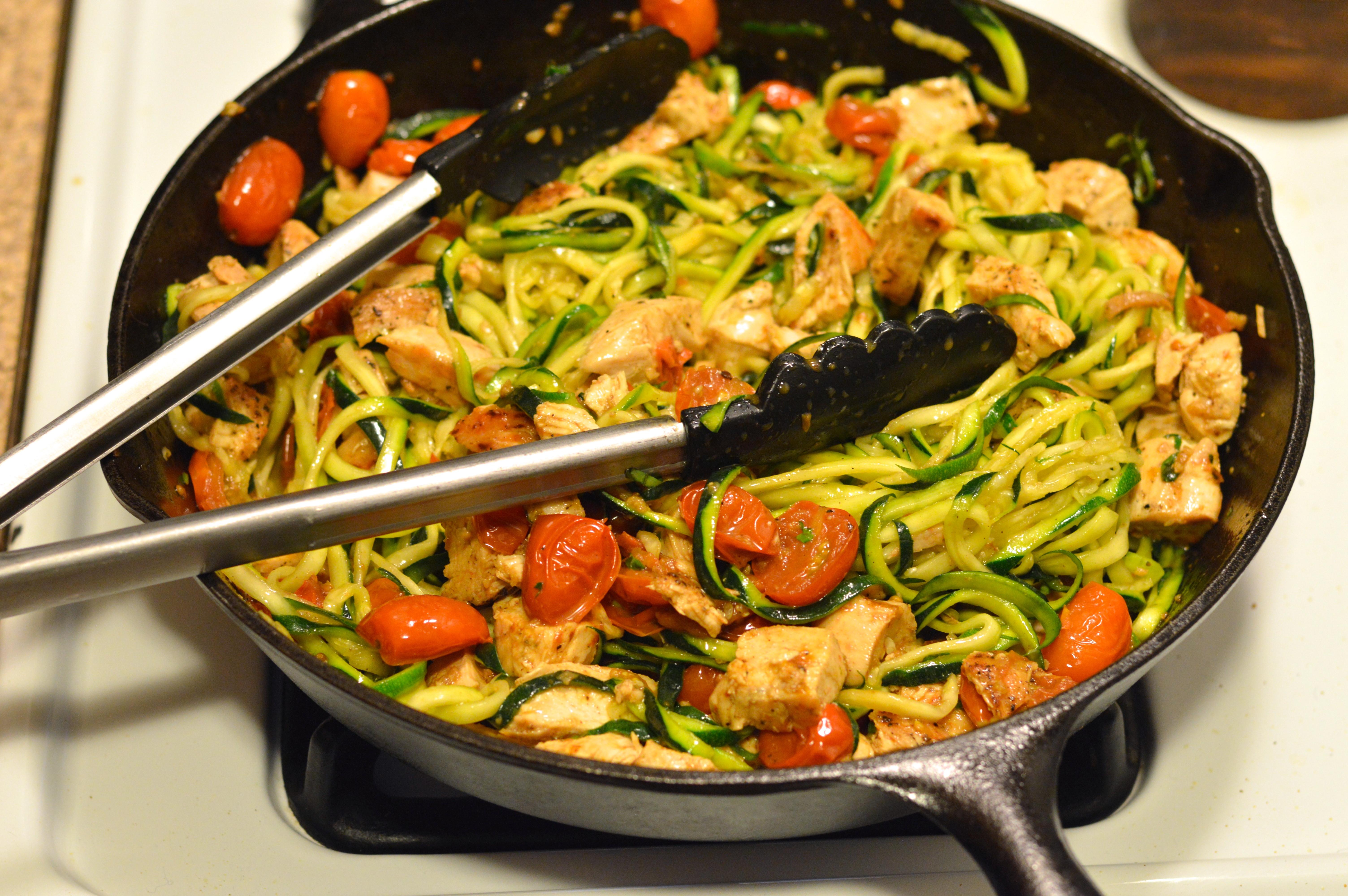 """Zucchini And Chicken  zucchini """"pasta"""" with chicken white wine & tomatoes"""