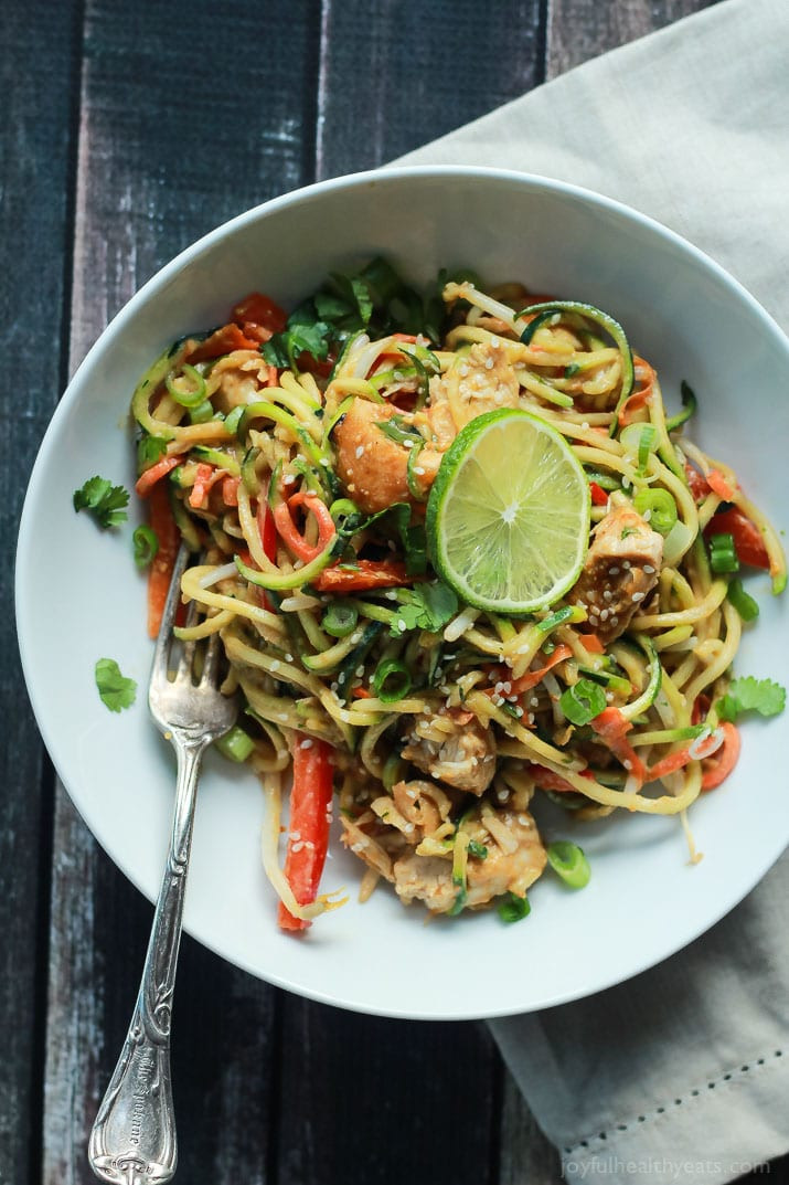 Zucchini And Chicken  Thai Chicken Zoodles with Spicy Peanut Sauce