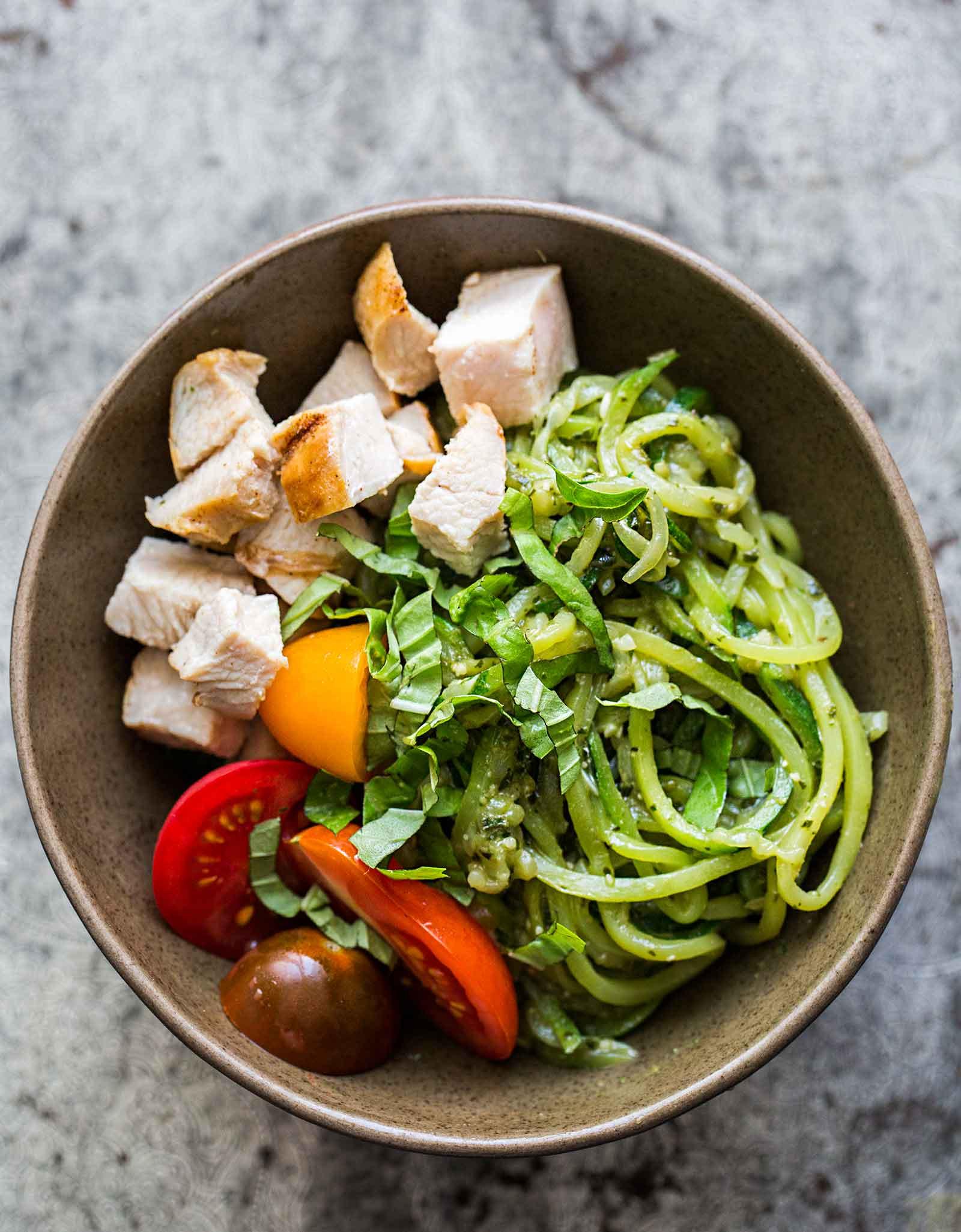 Zucchini And Chicken  Zucchini Noodle Chicken Pesto Bowl Recipe