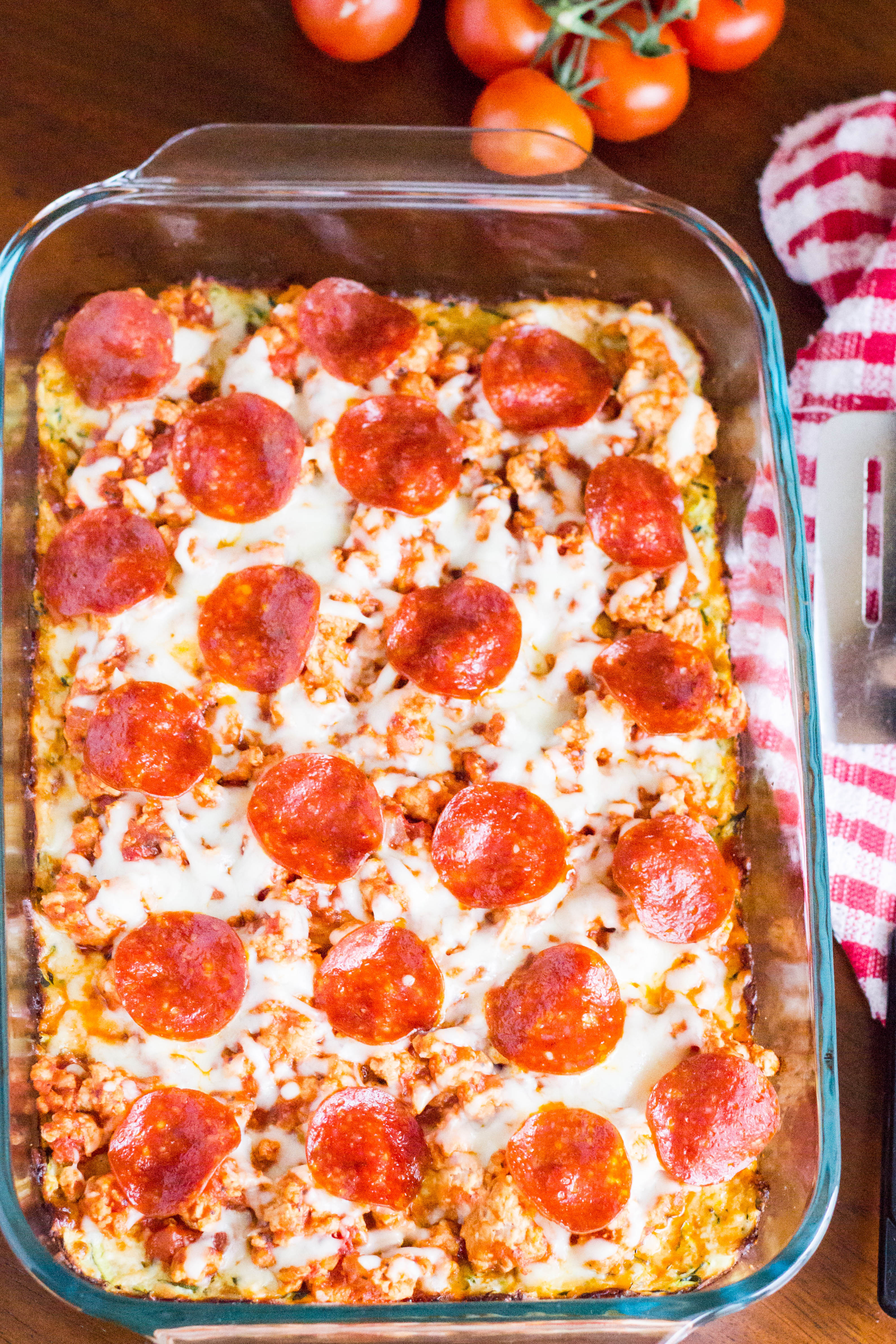Zucchini Pizza Casserole  Zucchini Pizza Casserole Kendra s Treats