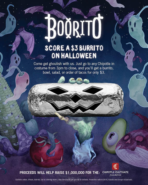 $3 Burritos At Chipotle On Halloween  Halloween at Chipotle $3 Burritos Bowls or Tacos