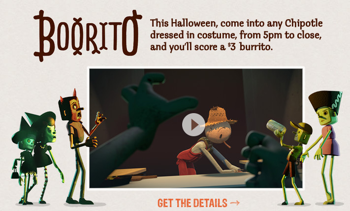 $3 Burritos At Chipotle On Halloween  Chipotle $3 Burrito on Halloween when you Dress up