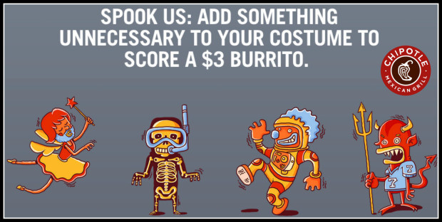 $3 Burritos At Chipotle On Halloween  Chipotle $3 Burritos on October 31st Wear A Costume